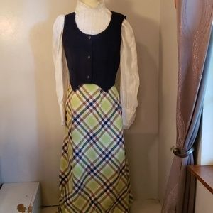 Vintage 3 Piece Maxi Skirt Top Vest 1960s Mod